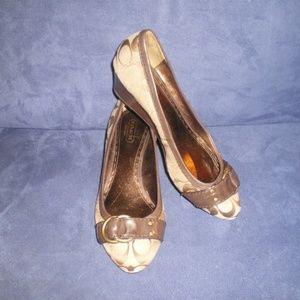 Coach MILLIE Brown Signature Wedge Heels sz 8 1/2B